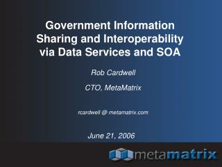 Government Information Sharing and Interoperability via Data Services and SOA