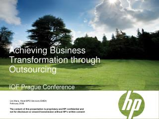 Achieving Business Transformation through Outsourcing   IOF Prague Conference