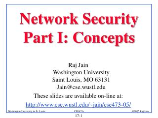 Network Security Part I: Concepts