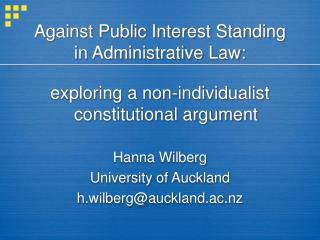 Against Public Interest Standing in Administrative Law: