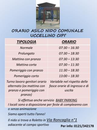 ORARIO ASILO NIDO COMUNALE  UCCELLINO CIPI'