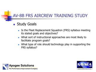AV-8B FRS AIRCREW TRAINING  STUDY