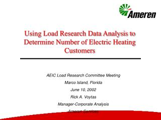 Using Load Research Data Analysis to Determine Number of Electric Heating Customers