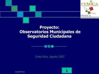 Proyecto:  Observatorios Municipales de Seguridad Ciudadana