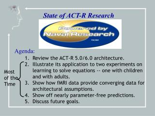 State of ACT-R Research Agenda: