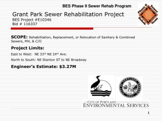 Grant Park Sewer Rehabilitation Project BES Project #E10346 Bid # 116337
