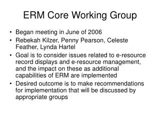 ERM Core Working Group