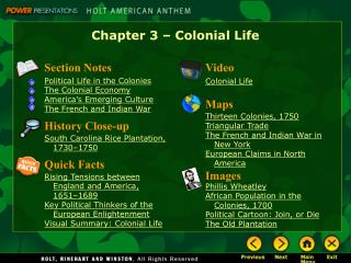Chapter 3   Colonial Life