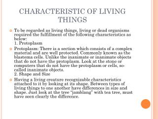 CHARACTERISTIC OF LIVING THINGS