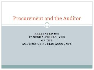 Procurement and the Auditor