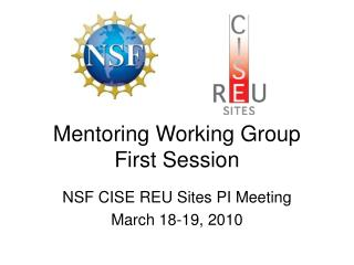 Mentoring Working Group First Session