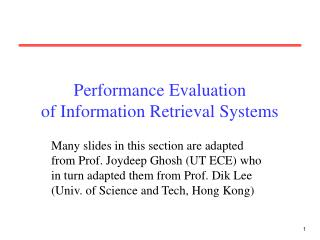 Performance Evaluation of Information Retrieval Systems