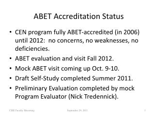 ABET Accreditation Status