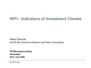 WP1:  Indicators of Investment Climate