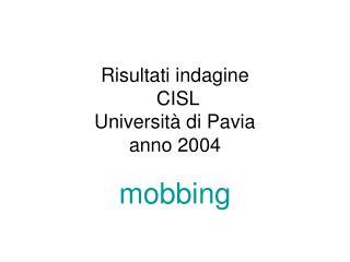 Risultati indagine  CISL  Università di Pavia anno 2004