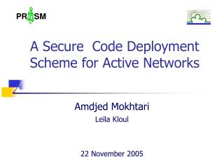 A Secure  Code Deployment Scheme for Active Networks