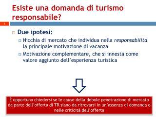Esiste una domanda di turismo responsabile?