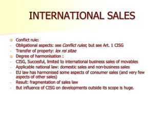 INTERNATIONAL SALES