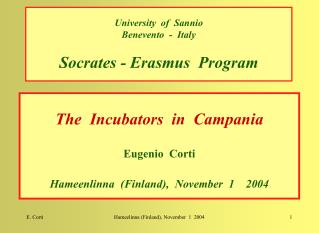 University  of  Sannio Benevento  -  Italy Socrates - Erasmus  Program