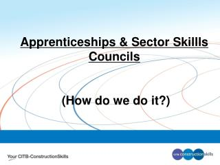 Apprenticeships & Sector Skillls Councils  (How do we do it?)