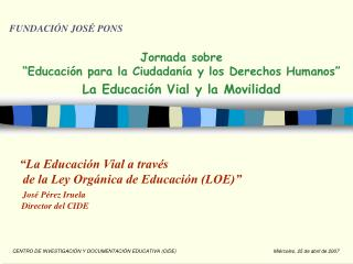 """Jornada sobre  """"Educación para la Ciudadanía y los Derechos Humanos"""""""