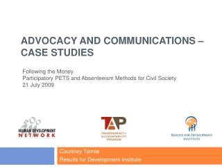 Advocacy and Communications – Case Studies