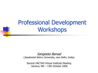 Professional Development Workshops