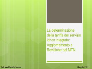 La determinazione della tariffa del servizio idrico integrato: Aggiornamento e Revisione del MTN