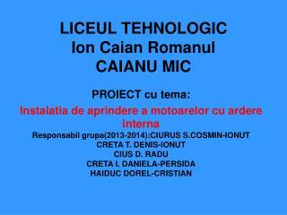 LICEUL TEHNOLOGIC Ion Caian Romanul CAIANU MIC