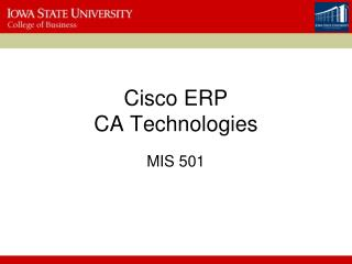 Cisco ERP CA Technologies