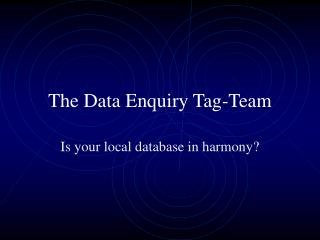 The Data Enquiry Tag-Team
