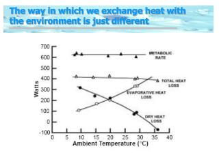 The way in which we exchange heat with the environment is just different