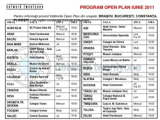 PROGRAM OPEN PLAN  IUNIE  20 11