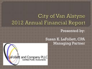 City of Van Alstyne 2012 Annual Financial Report