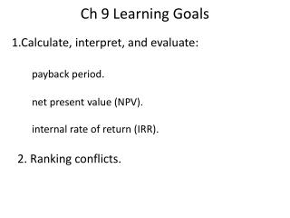 Ch 9 Learning Goals
