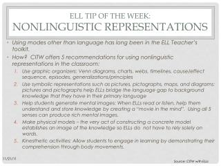 ELL Tip of the week:  Nonlinguistic representations