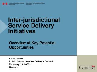 Inter-jurisdictional Service Delivery Initiatives