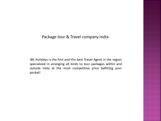 Package tour & Travel company India