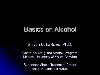 Basics on Alcohol