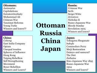 Ottoman Russia China Japan