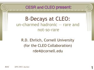 B-Decays at CLEO: un-charmed hadronic — rare and  not-so-rare