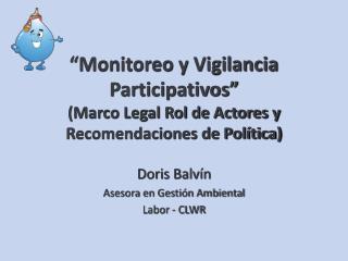 """""""Monitoreo y Vigilancia Participativos"""" (Marco Legal Rol de Actores y Recomendaciones de Política)"""