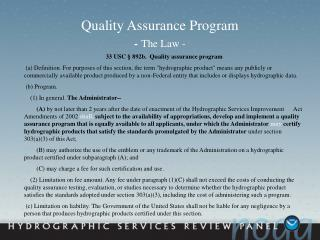 Quality Assurance Program  - The Law -