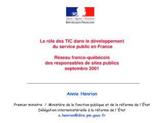 Annie Henrion Premier ministre  /  Ministère de la fonction publique et de la réforme de l'État