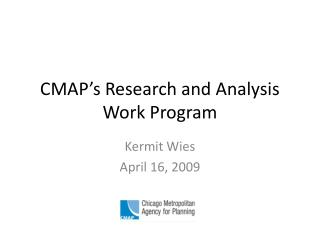CMAP's Research and Analysis Work Program