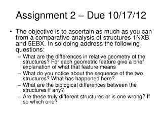 Assignment 2 – Due 10/17/12
