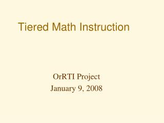Tiered Math Instruction