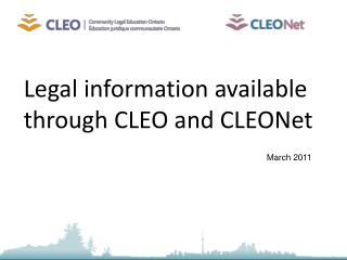 Legal information available through CLEO and CLEONet