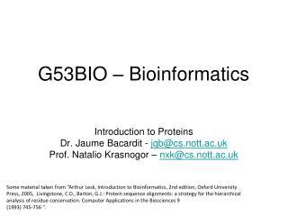 G53BIO � Bioinformatics