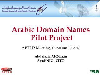 Arabic Domain Names  Pilot Project APTLD Meeting,  Dubai Jun 3-6 2007 Abdulaziz Al-Zoman